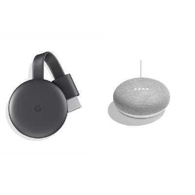 GOOGLE Chromecast (3ème gen) + Home Mini Galet