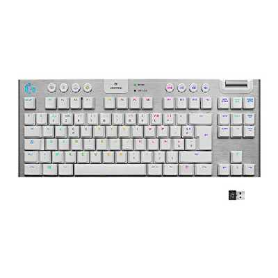 Clavier gaming mécanique RVB sans fil LIGHTSPEED G915 TKL sans pavé numérique,tactile, options de switchs ultra-plats, LIGHTSYNC RVB, prise en charge sans fil et Bluetooth avancée - Blanc