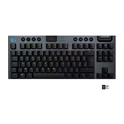 Clavier gaming mécanique RVB sans fil LIGHTSPEED G915 TKL sans pavé numérique,clicky, options de switchs ultra-plats, LIGHTSYNC RVB, prise en charge sans fil et Bluetooth avancée - Noir