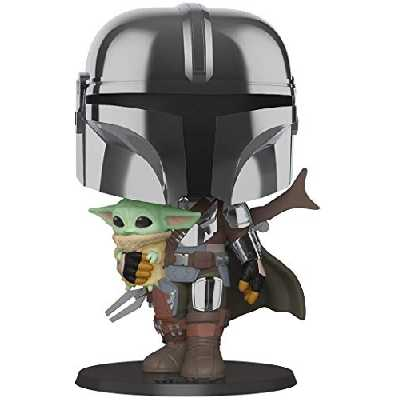 Funko- Pop Star Wars:Mandalorian-10 Mandalorian (w/Chrome Armour) Figurine de Collection, 49931, Multicoleur