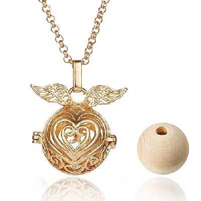 Collier diffuseur d'huile essentielle en bois avec pendentif en forme de cœur pour femme et fille