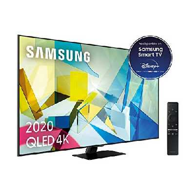 TV QLED 4K 138 cm Samsung QE55Q80T - 55 pouces - Téléviseur Full LED Local Dimming - Connecté Smart TV Tizen - Contrôle vocal , Bixby, Google et Alexa - Netflix, Disney+, Prime Vidéo, My Canal