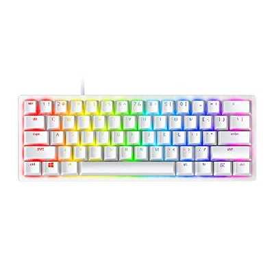 Razer Huntsman Mini Mercury Ed. (Purple Switch): clavier de jeu compact (clavier compact 60% avec commutateurs opto-mécaniques Clicky, touches PBT, câble USB-C détachable) - US Layout, Blanc