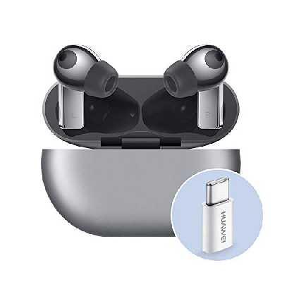 Huawei FreeBuds Pro avec Adaptateur Huawei AP52, écouteurs sans Fil Bluetooth avec Suppression Intelligente du Bruit, système à 3 Microphones, Charge sans Fil Rapide, Argent (Argent)