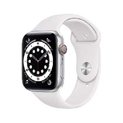 AppleWatch Series6 (GPS+ Cellular, 44 mm) Boîtier en Aluminium Argent, Bracelet Sport Blanc
