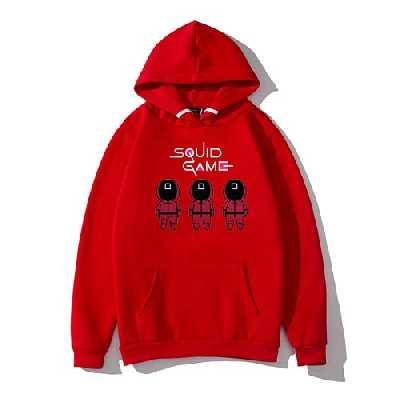 Harajuku Sweat à capuche unisexe série TV Squid Game, Rouge, L