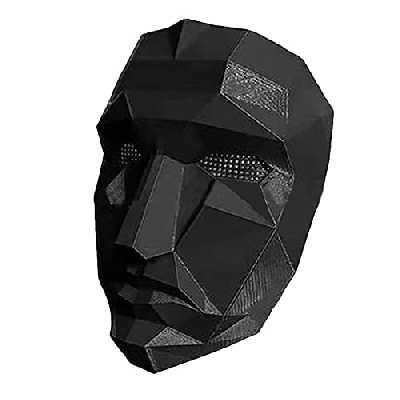 Squid Game Mask Masque Jeu de Calmar Couverture de Visage Soldat d'origineré, Jeu de Rôle Cosplay Halloween Masque Carnaval Télévision Korean 2021 Round Six (Chef)